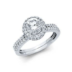 1.25CT Round & Pave Halo with Side Fishtail CZ